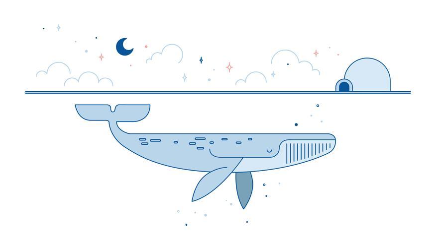 Vector azul de la ballena
