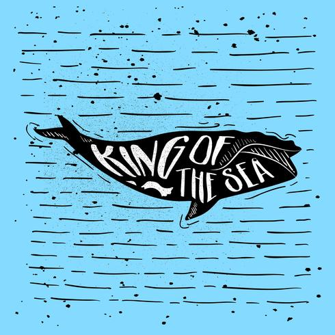 Hand-Drawn Whale Silhouette Vector
