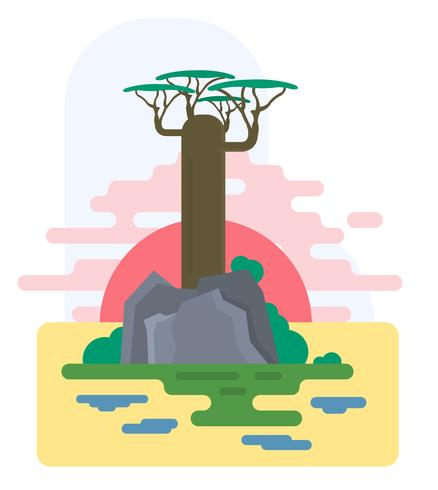 Platte Baobab boom
