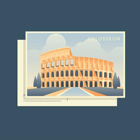 Colosseum Italy Postcard Vector