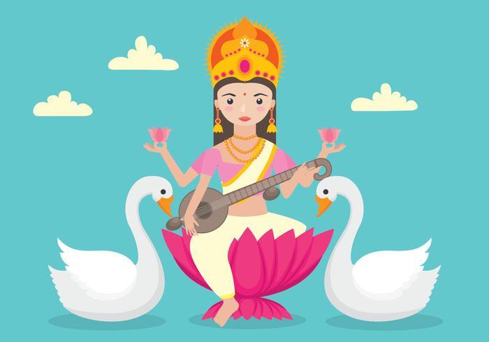 Saraswathi Character withSwans