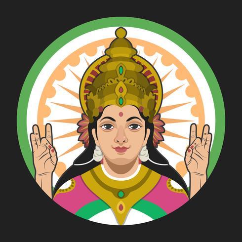 Ilustración de vector de retrato de Saraswathi