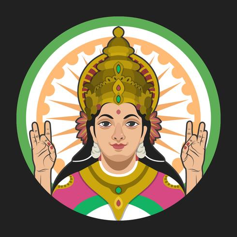 Saraswathi Portrait Vector Illustration