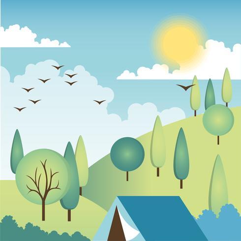 Flaches Design-Vektor-Frühlings-Landschaftsdesign