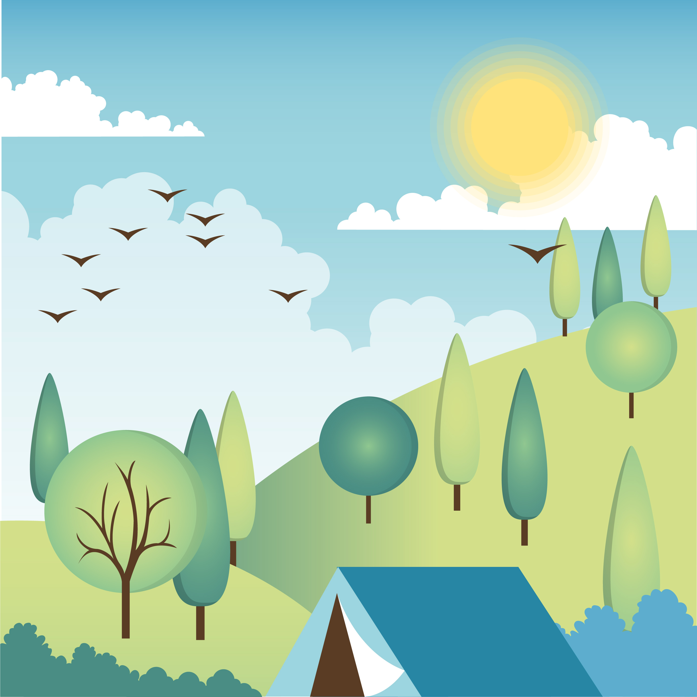 Flat Design Vector Spring Landscape Design - Download Free ...