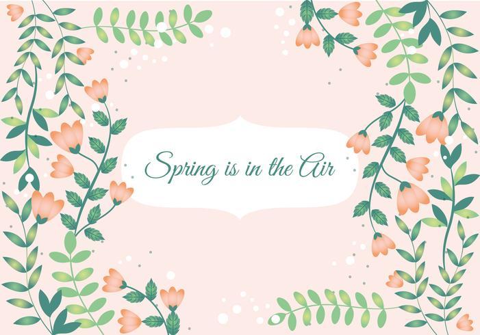 Diseño plano, vector, primavera, saludo, tarjeta, diseño