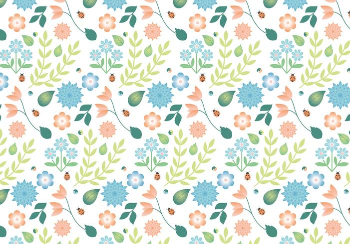 Flat Design Vector Spring Pattern Design