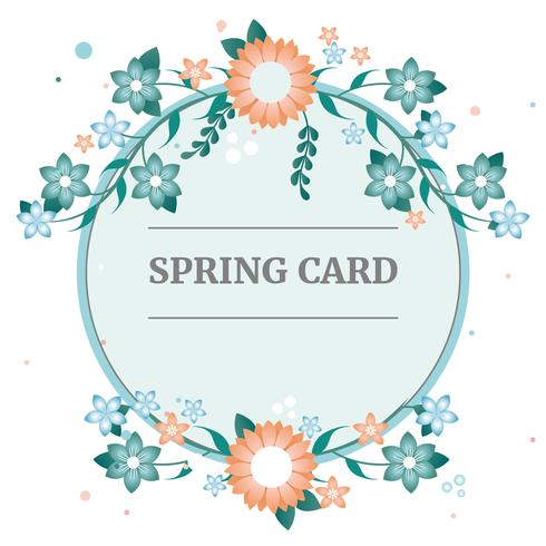 Flat Vector Spring Greeting Card