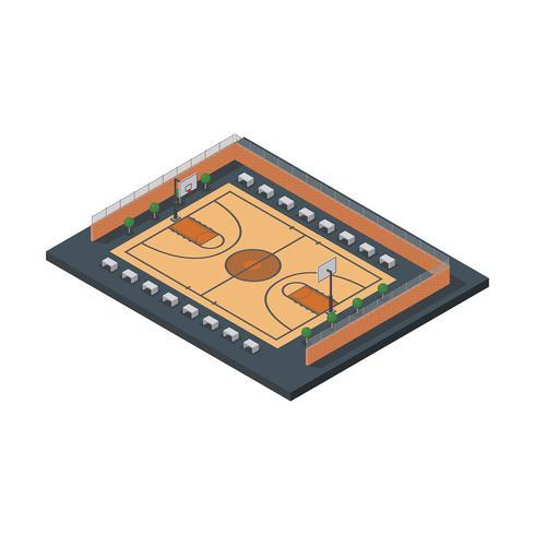 Cour de basket-ball isométrique rue vecteur