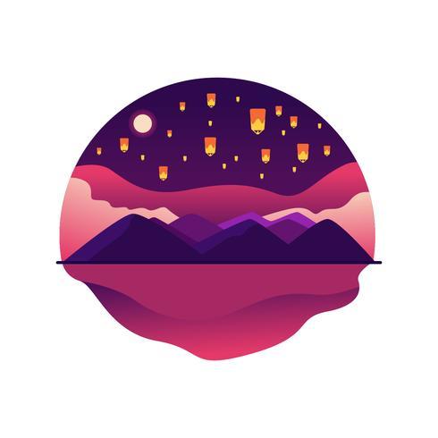 Sky Lantern, Mountain Landscape