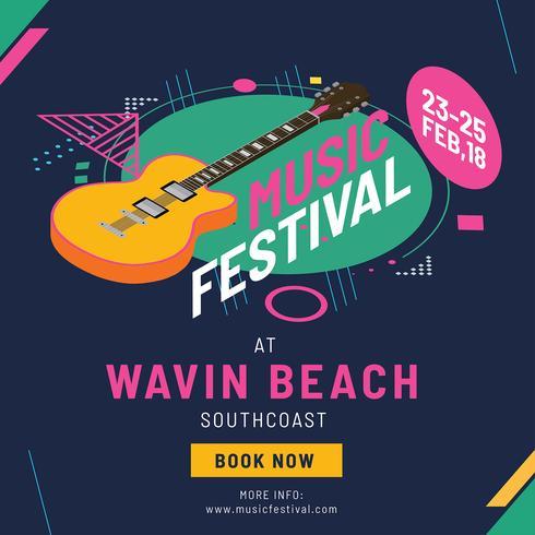 vector de plantilla de cartel de festival de música