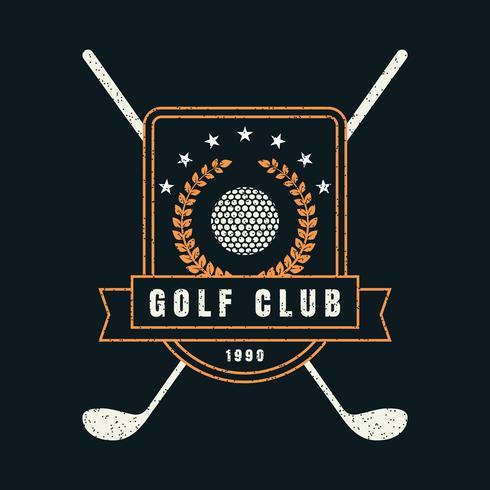 insignia retro del club de golf