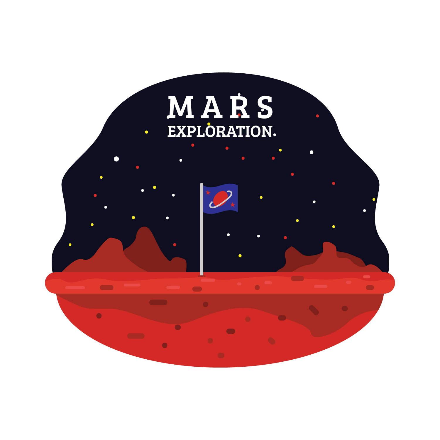 exploration of mars The exploration of mars pre-space age interpretation-seven men with blue space  suits and tanks resembling diving tanks climb on martian rocks two rockets,.