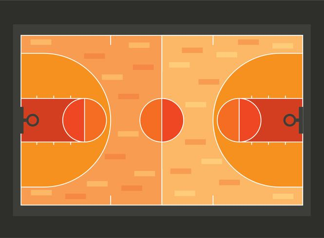 Basketball Court Flat Style Vector