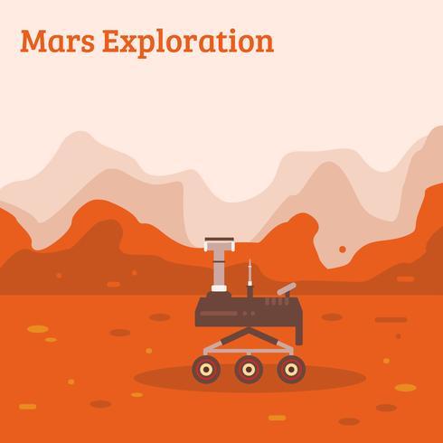 Mars Exploration Flat illustration