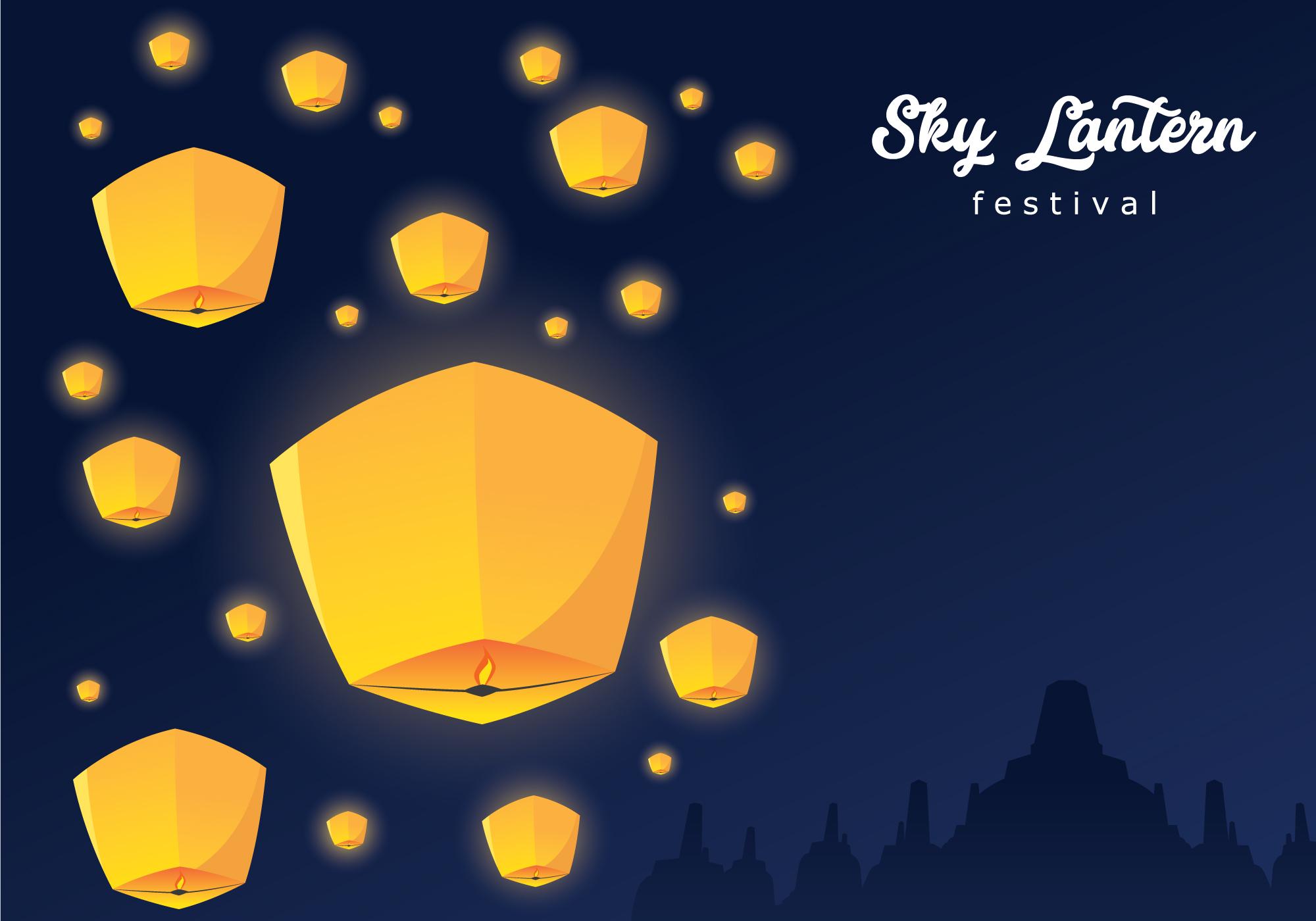 Sky Lantern Festival Background Download Free Vectors Clipart Graphics Vector Art