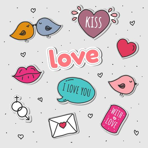 Love Stickers Set Vector