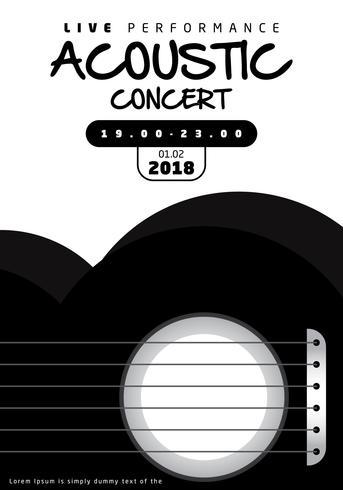 Cartel acústico blanco y negro del concierto
