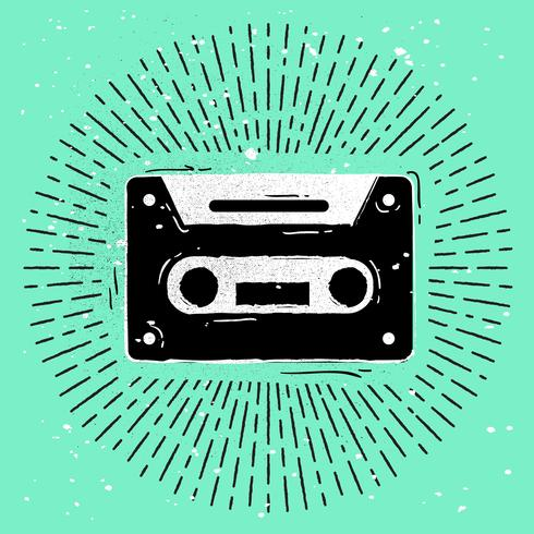 Hand-Drawn Cassette Silhouette Vector