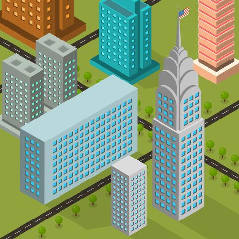 Flat isometrische NYC vectorillustratie