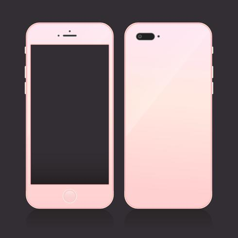 Realistic Rosegold Smartphone with Blank Screen
