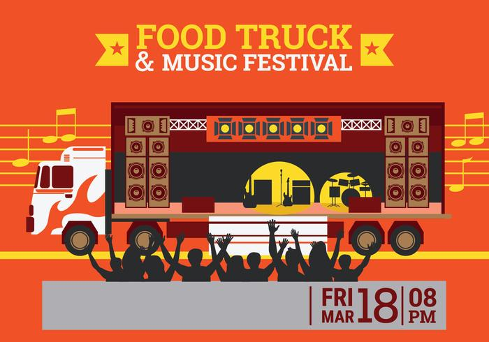 Food Truck and Music Festival Poster with Gourmet,Concert Theme Design