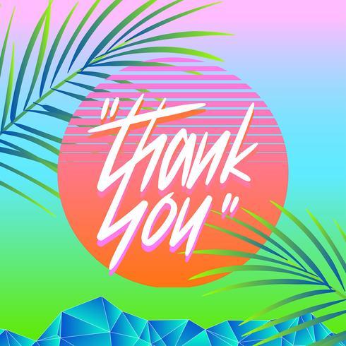 Thank You Typography Vaporwave Summer Vector