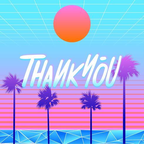 Obrigado Tipografia Beach Vaporwave Vector