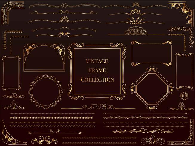 Un conjunto de marcos vintage de oro surtidos. vector