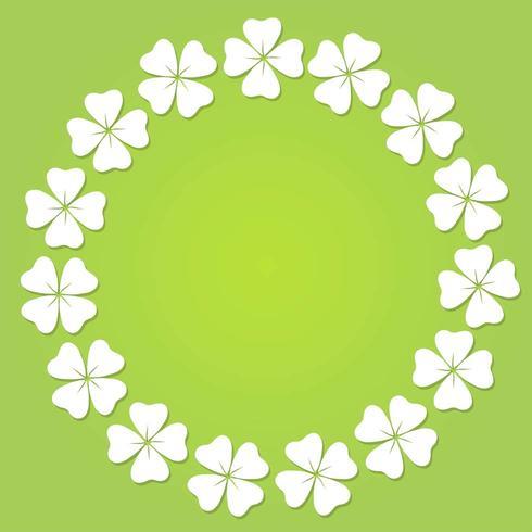 Marco circular de trébol de cuatro hojas.