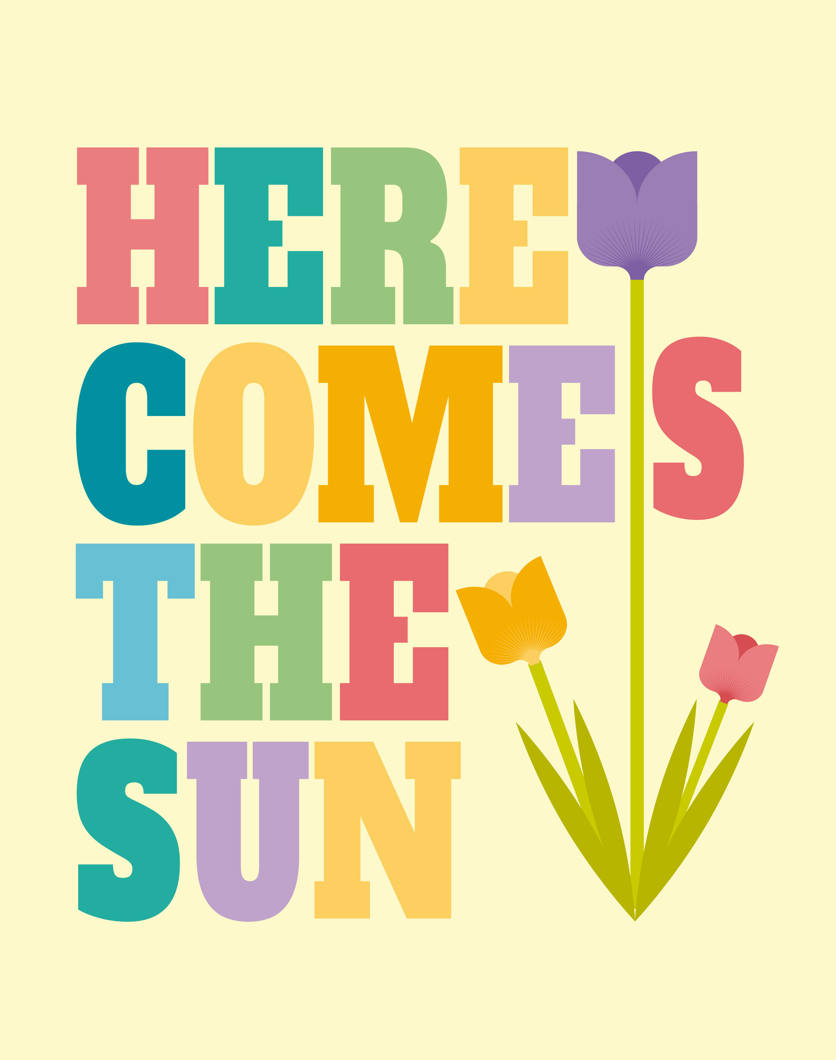 Here Comes The Sun Wall Art Poster - Download Free Vector Art, Stock ...