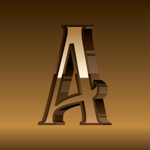 Letter A Typography Gold Vector