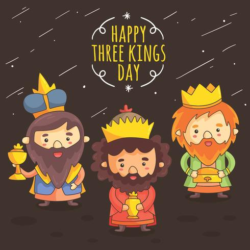 Cartoon Kings Day Vector