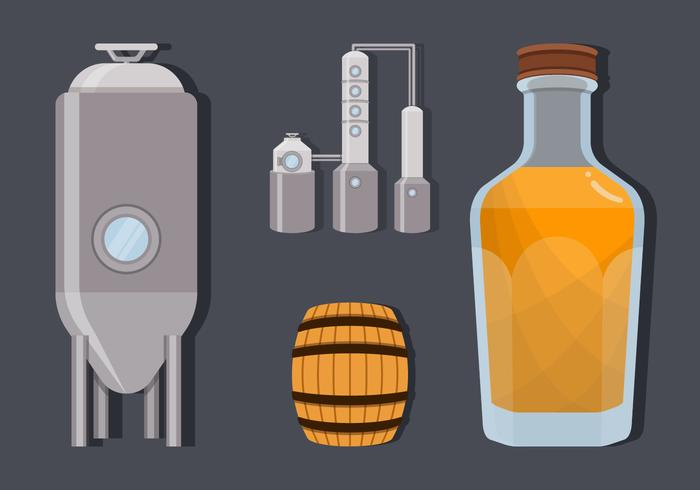 Bourbon Making Process Vector Illustration