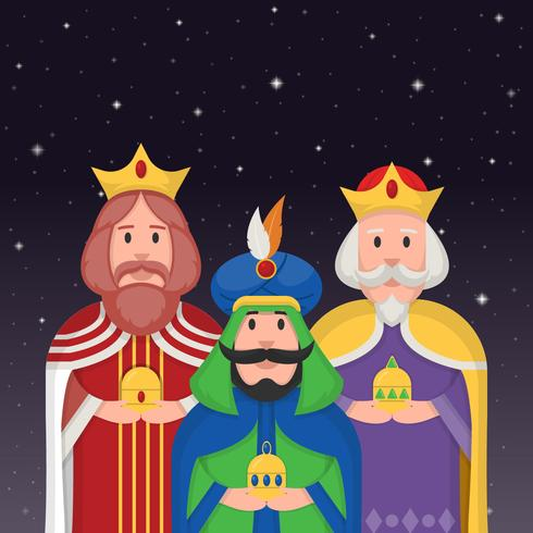 Tre Kings Karaktär I Natt Vector Illustration