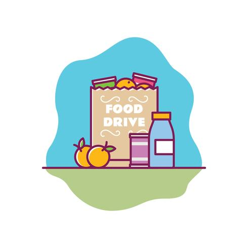 Saco de mantimento Charity Food Drive Fruit and Food Illustration