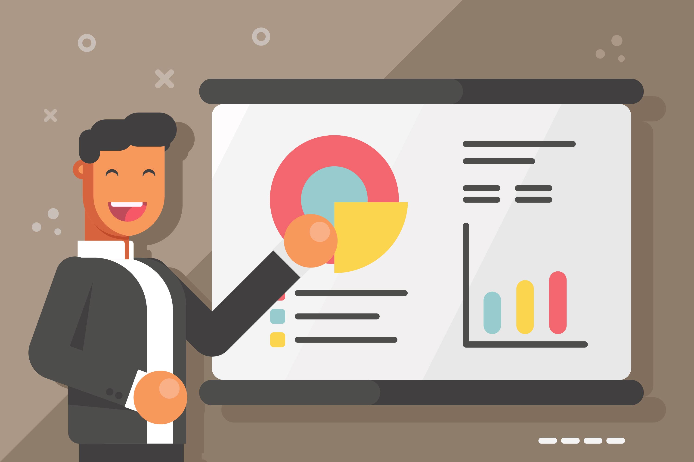 Worker Presenting Data Visualization Vectors Download