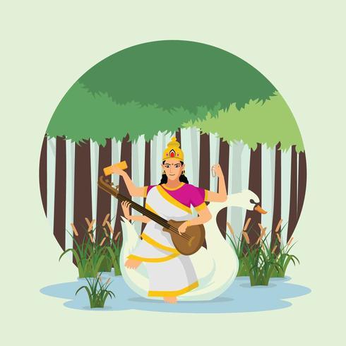 mooie Goddness Saraswathi illustratie.
