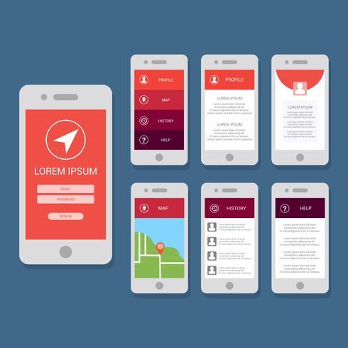 Plantilla de Vector plano GUI para aplicaciones móviles