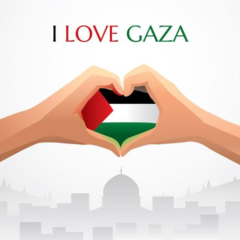 Eu amo o vetor de Gaza