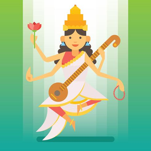 Saraswathi-illustratie vector