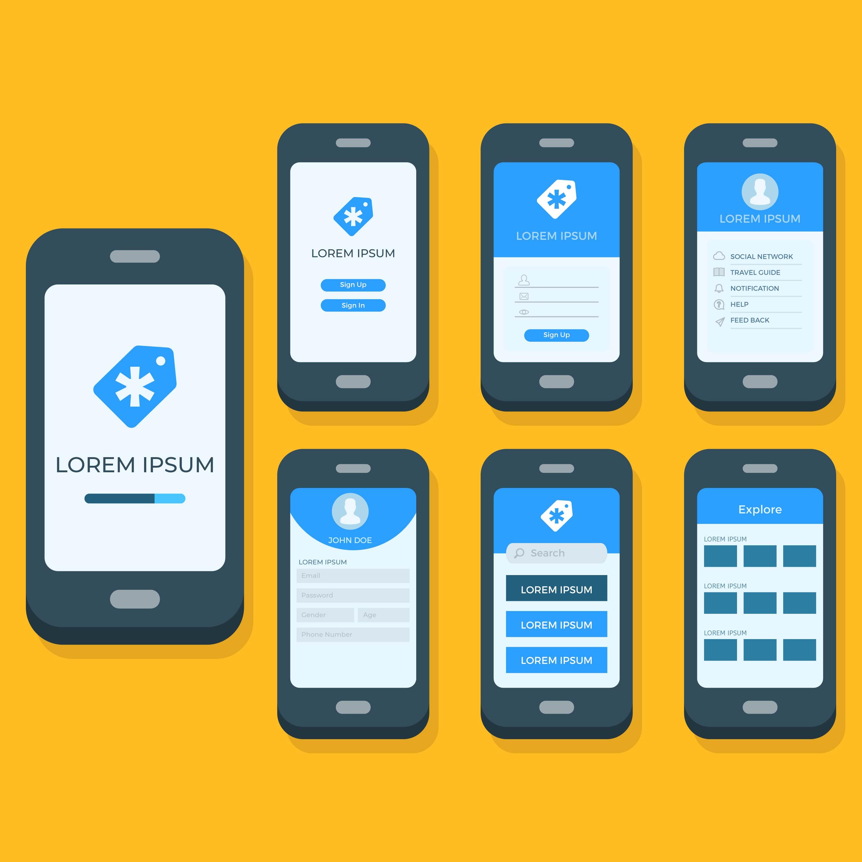 flat mobile app gui vector template