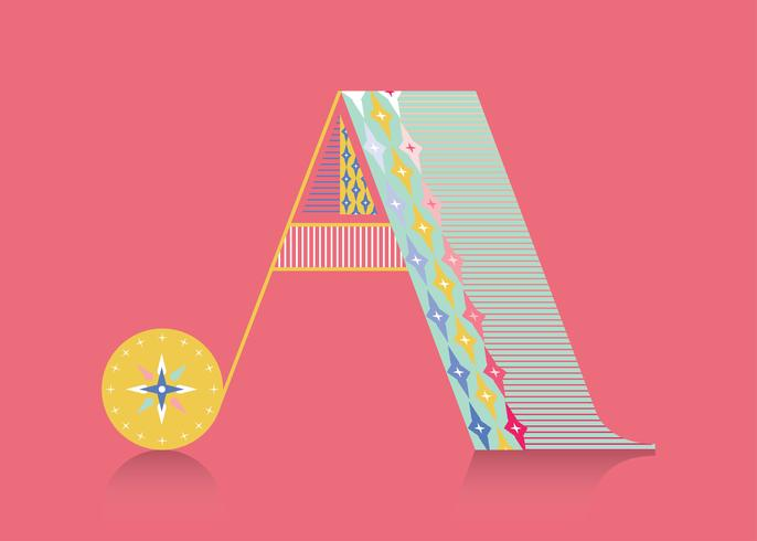 Letter A Ethnic Typography Vector
