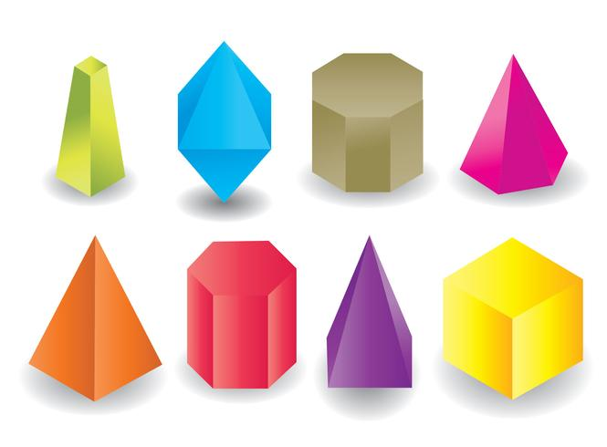 Colored Geometric Prism Shape Vector