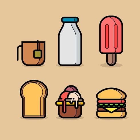 Essen App Icon Set Lineart Stil vektor