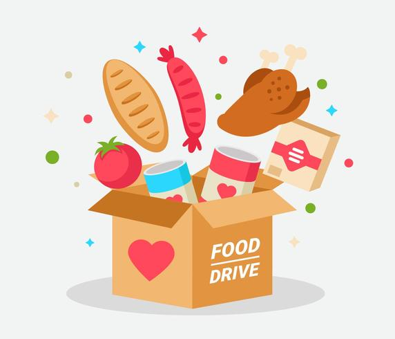 Food Drive With Cardboard Vector