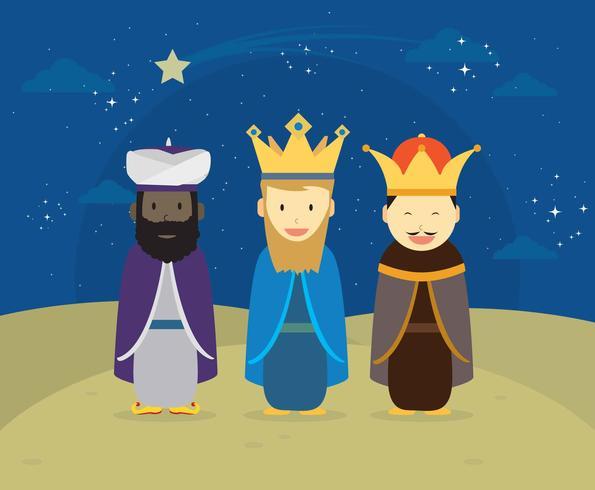 drie koning met decoratieve sterren opknoping illustratie