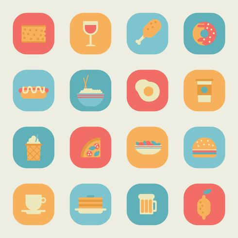 Ícones de aplicativos de alimentos coloridos