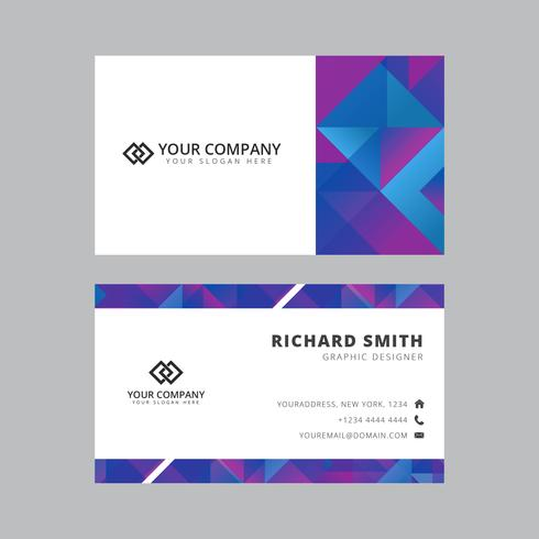 Abstract Triangles Business Card Vector Template