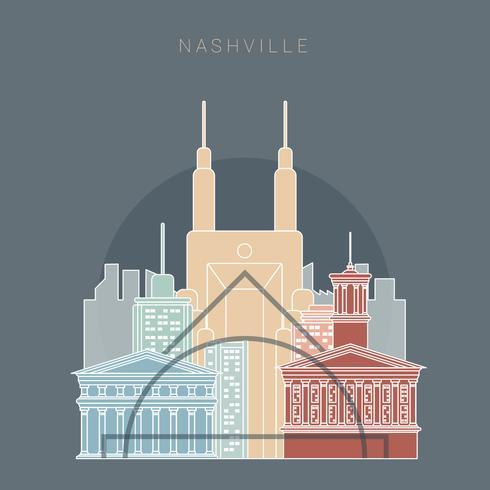 Nashville State Tennesse Skyline linéaire couleur Vector Illustration